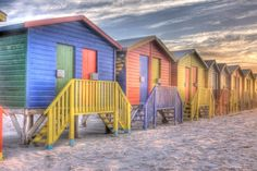 Bathing Huts - Muizenberg Beach, Cape Town, South Africa Seaside Beach, Beach Huts, Beach Cottages, Out Of Africa, Coastal Christmas, Cottage Interiors, Most Beautiful Cities, My Land, Home Reno