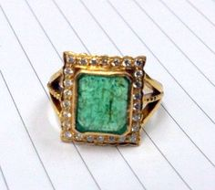 Want/Need  Emerald ring Vintage gold antique emerald 18 k by TRIBALEXPORT, $1950.00