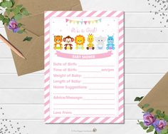 Jungle Animals Baby Shower Prediction Card, Baby Shower Game, Activity, Baby Predictions, Baby Advice, Safari, Baby Girl, INSTANT DOWNLOAD by thehappycatstudio on Etsy