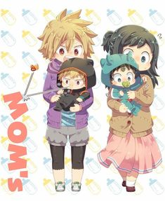 Katsuki and Izuku with their Moms
