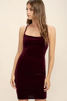 The Sultry Summoning Burgundy Velvet Bodycon Dress is calling to you for a night of fruity drinks and dancing! Stretchy velvet bodycon dress with draping neckline and lace back. Purple Bodycon Dresses, Velvet Bodycon Dress, Purple Velvet Dress, Burgundy Dress, Velvet Dresses, Green Velvet, Club Dresses, Lulu's Dresses, Spaghetti Strap Dresses