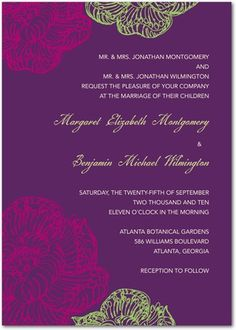 Signature White Wedding Invitations Brilliant Blooms - Front : Amethyst