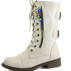 Womens Military Combat Lace up Mid Calf High Credit Card Knife Money Wallet Pocket Boots Dailyshoes Hot Pink Pu White Pu Lace Up Booties, Ankle Booties, Military Combat Boots, Thing 1, New Handbags, Buckle Boots, Women's Boots, White Boots, Short Boots