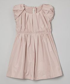This Peach Pleated Puff-Sleeve Dress - Infant, Toddler & Girls by Richie House is perfect! #zulilyfinds