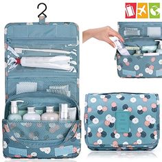 New Fashion Folding Travel Cosmetic Bag Toiletry Bag Women Hanging Makeup Organizer Pouch Wash Bags for Travel Travel Cosmetic Bags, Travel Toiletries, Hanging Cosmetic Bag, Rangement Makeup, Handbag Organization, Handbag Organizer, Travel Bags For Women, Women Bags, Wash Bags