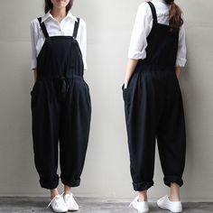 Big Tang Womens Pure Color Braces Fashion Jumpsuit Strap Loose Linen Overalls