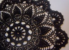 Black Crocheted Doily Rug - So pretty!