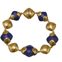"7.5"" 14 Karat Gold Plated Brass Bracelet with Lapis"