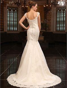 Back view.  Trumpet/Mermaid Sweetheart Court Train Satin Wedding Dress - USD $ 499.99