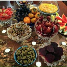 Celebrating Yalda night with dry & fresh fruits [Persian tradition on the longest night of the year]