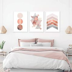 Printable Graphics Printable Graphics Set of 3 Wall Bed Without Headboard, Blush Walls, High Beds, Home Decor Bedroom, Bedroom Ideas, Headboard Ideas, Guest Bedrooms, Costco, Decoration