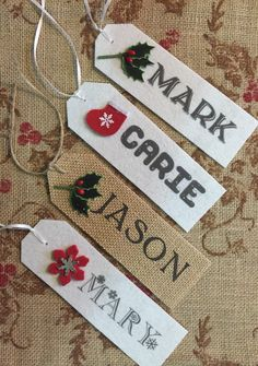 Christmas Stocking NAME TAG Stocking Personalized Name Rustic Country Shabby Theme •Made to Order• Christmas Gift by TatyanasTrimRibbon on Etsy https://www.etsy.com/listing/213297426/christmas-stocking-name-tag-stocking