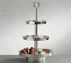 Hammered Nickel Tiered Stand #potterybarn