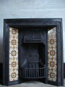 Original Cast Iron Tiled Fireplace insert | eBay