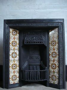Original Cast Iron Tiled Fireplace insert | eBay