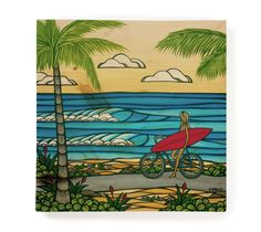 Matted print artwork by North Shore, Oahu artist, Heather Brown, featuring a girl heading to the beach for a day of surf and sea. This print comes with an embossed mat and is created on recycled Heather Brown Art, Hawaiian Art, Sup Yoga, Summer Painting, Ocean Art, Beach Look, Exotic Flowers, Strand, Artwork Prints