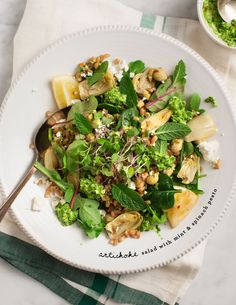 Artichoke Salad with Mint & Spinach Pesto