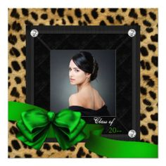 Emerald Green Leopard Photo Graduation Announcements