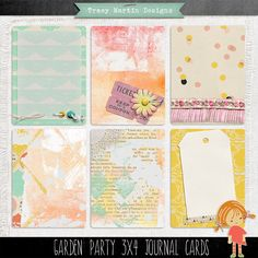 FREE Garden Party 3x4 Journal Cards by Tracy Martin Designs
