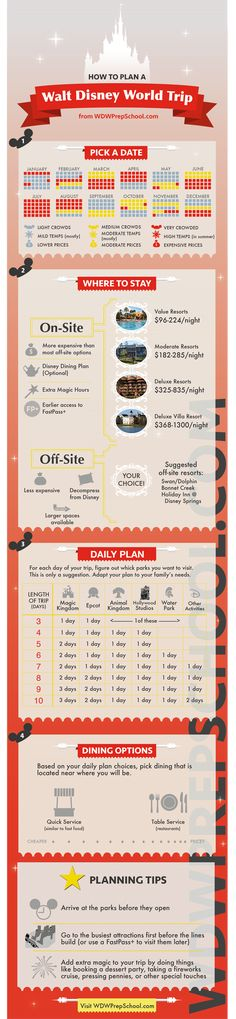 Planning a Disney World trip is overwhelming at first. Here's an infographic with the steps to help you get started.