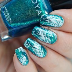 Peacock Feather Nail Art with B Loves Plates Feather Fever