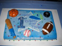 Boys Sports Cake Made To Match The Party Napkins Its All Edible