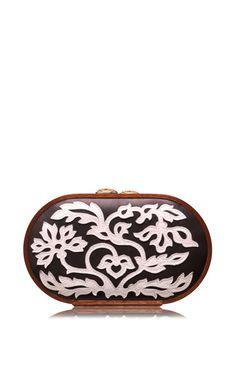 Floral Leather Applique Oval Bag by Katrin Langer for Preorder on Moda Operandi Chuck Tv Show, Evening Bags, Fashion Bags, Summer 2015, Spring Summer, Shopping Bag, Applique, Shoulder Bag, Clutch Bags