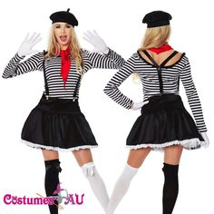 skirt with petticoat. French Fancy Dress, Mime Halloween Costume, Circus Fancy Dress, Fancy Dress Outfits, Cheap Outfits, Mermaid Gown, French Artists, Cheap Clothes, Clubwear