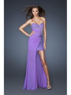 2013 Prom Dresses High-Low Beaded Strapless Sweetheart Chiffon Evening Party Dresses