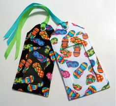 sandals fabric luggage tag bright colors party by nangatesdesigns