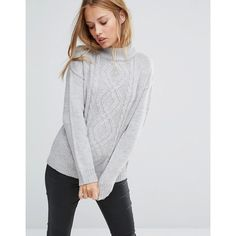 Brave Soul High Neck Jumper ($22) ❤ liked on Polyvore featuring tops, sweaters, grey, jumpers sweaters, grey top, high neckline tops, grey jumper and high neck sweater