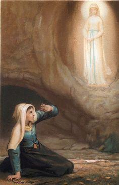 Our Lady of Lourdes & St. Catholic Religion, Catholic Art, Catholic Saints, Christian Images, Christian Art, Religious Images, Religious Art, St Bernadette Soubirous, Paddy Kelly