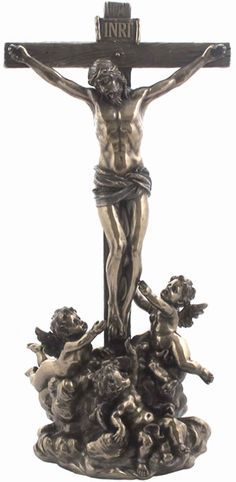 Cherubs Tending Jesus On The Cross Religious Figurine Statue Sculpture Statuary-Home Décor-Decorations-Christian Related Gifts-Available for Sale at AllSculptures.com