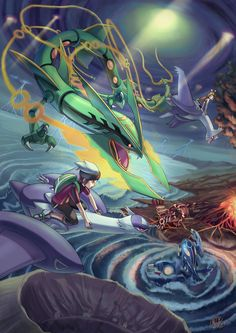 Brendon, Rayquaza, Kyogre and Groudon Pokemon Pokemon Rosa, Pokemon Mew, Pokemon Fan Art, Rayquaza Pokemon, Mega Rayquaza, Anime Pokemon, Mega Pokemon, Pikachu, Pokemon Remake