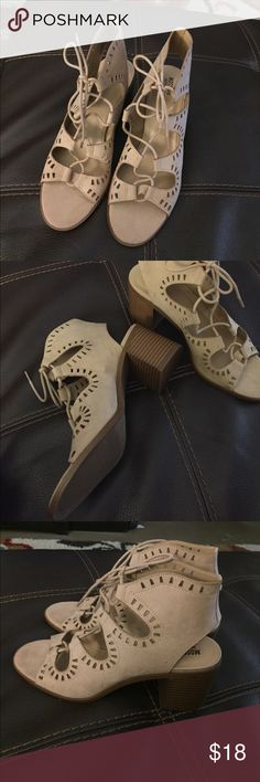 Nude sandals Brand new never worn. Lace up so good for regular or wide foot. About 2 /14 inch stacked heel Mossimo Supply Co. Shoes Sandals