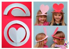 Diy paper plate hats for the kids. I could totally see myself doing this with two girls I babysit! Valentine's Day Crafts For Kids, Valentine Crafts For Kids, Valentines Day Activities, Sunday School Crafts, Diy For Kids, Valentine Hats, Kinder Valentines, Valentines Day Party, Paper Plate Hats