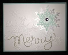 Pool Party card stock, Whisper White card stock embossed with Northern Flurry embossing folder Silver Glitter paper (Merry) Pool Party ink, Expression Thinlits Stampin Up Christmas, Christmas Greeting Cards, Handmade Christmas, Christmas Fun, Holiday Cards, Cricut Cards, Stampin Up Cards, Snowflake Cards, Snowflakes