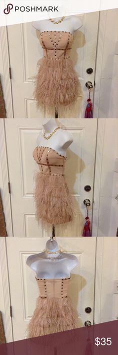 "Bebe Pink Feather and Gold Stud Mini Dress Bebe Pink Feather and Gold Stud Mini Dress. In Great Condition. Size XS. Measurements: Length 27.5"", Bust 17"", Waist 14"", Hips 19"". Bebe Dresses Mini"