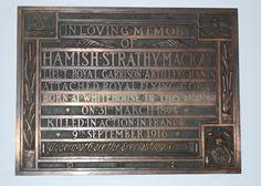 Hamish Strathy MacKay Memorial plaque.  Cramond Kirk