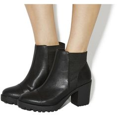 Office Idol Chunky Chelsea Boots ($91) ❤ liked on Polyvore featuring shoes, boots, ankle booties, ankle boots, black, women, black leather booties, booties, leather booties and chelsea boots