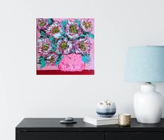 Desert Rose. Textured painting, floral painting, flower painting, flower art. Abstract Flowers, Abstract Art, Textured Painting, Desert Rose, Floating Nightstand, Creative Art, Flower Art, Painted Furniture, Etsy Seller