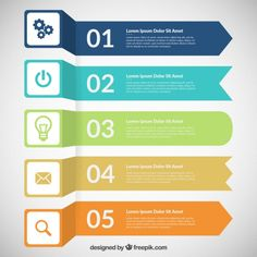 Colored banners infographic Free Vector