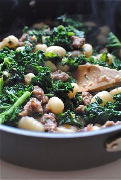 Gnocchi with Sausage and Kale. Maybe substitute Gnocchi with white navy beans? Gnocchi Recipes, Kale Recipes, Sausage Recipes, Pork Recipes, Cooking Recipes, Healthy Recipes, Endive Recipes, Veggie Sausage, Radish Recipes