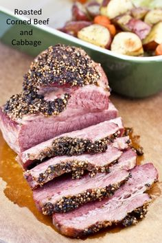 This slow Roasted Corned Beef and Cabbage is totally worth the time to prepare it. Delicious served with baked potatoes, carrots, and cabbage wedges. Roasted Cabbage Wedges, Fried Cabbage, Corn Beef And Cabbage, Cabbage Recipes, Slow Roasted Corned Beef, Corned Beef Brisket, Corned Beef Recipes, Food 101, A Food