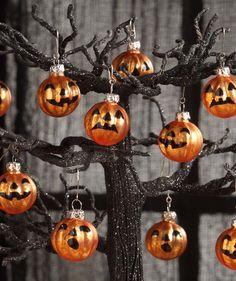 Mini Glass Pumpkin Ornaments from The Holiday Barn - set of three