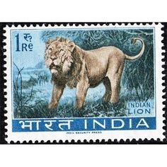 India, Wild Life Conservation, Indian Lion, 1 Re 1963 MLH