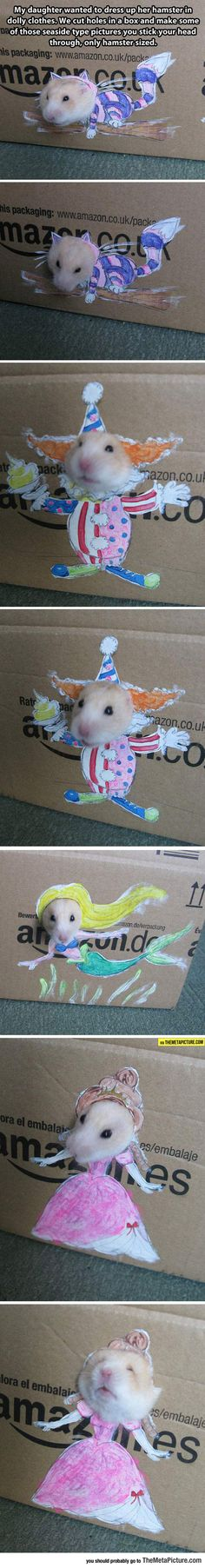 "A great idea for ""dressing"" hamsters! You could go all out and do backgrounds, etc. Very cute."
