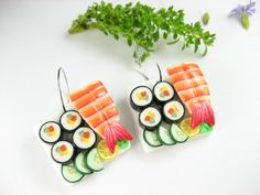 Sushi Earrings Futo Maki and Ebi by beadpassion on Etsy, $15.50