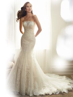 Gentle bead work adorns the lace-appliqued tulle draping the Sophia Tolli Y11574 Alouette Wedding Dress, granting soft radiance to the fit and flare silhouette. The corset bodice features a strapless straight neckline, completed by the modesty panel covering the sweetheart bust. Fitted with a laced-up back, this shimmering ensemble then tapers through the hips before flaring toward the floor with a scallop-hemmed chapel train. Set includes removable spaghetti and halter straps.