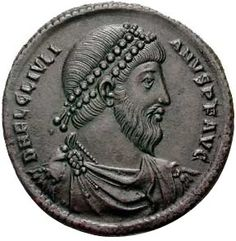 In 351–2, another Jewish revolt in the Galilee erupted against a corrupt Roman governor.[46] In 362, the last pagan Roman Emperor, Julian the Apostate, announced plans to rebuild the Jewish Temple. He died while fighting the Persians in 363 and the project was discontinued.Portrait of Emperor Julian on a bronze coin from Antioch minted in 360-363